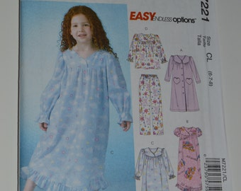 Little Girl Nightgown Sewing Pattern McCalls M7221 Ruffled Gown Pajamas Kids Nightwear Gown