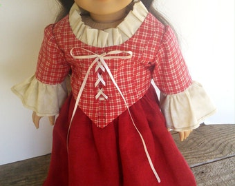 """18"""" Doll Clothes fits American Girl - Red Check Colonial Outfit Felicity Period Era"""