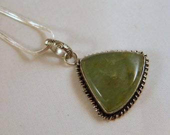 Sterling Silver and Large Moss Green Agate Pendant / Vintage Gemstone Long Pendant Necklace / Big Drop Pendant Necklace