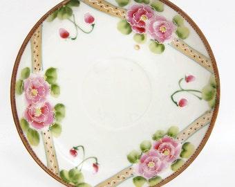 Vintage Relief Rose Saucer Japan TT Hand Painted Porcelain Raised Paint