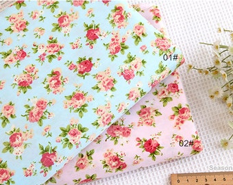 Cotton Fabric, Twill Cotton Fabric, Shabby Chic Pink Rose, Pale Blue Pink Cotton Flower Plaid Coordinated,Decor Fabric 1/2 Yard (QT935)