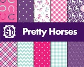 Pretty Horse patterns  Pink, Purple and Aqua printed vinyl or heat transfer vinyl (iron on) in sample pack, 8.5x11, 12x12, 12x24 and 12x36
