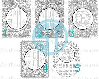 Monogram coloring page Choose your monogram font .jpg and .pdf emailed design for printing