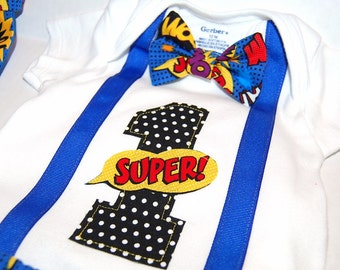 Superhero Birthday  cake smash  Superhero baby boy outfit  1st birthday bowtie suspenders, necktie diaper cover blue yellow red