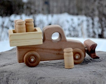 Snow Plow with Bed, Delivering Milk or Sand, Redwood Heirloom Truck, Handmade