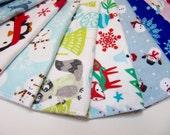 Holiday Cloth Napkins, 10 Christmas Napkins, 10 Holiday Unpaper Napkins, Unpaper Christmas Napkins, Hostess Gift