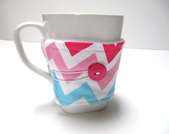 Reusable Coffee Cozy, Coffee Sleeve, Pink Chevron Cozy, Eco-Friendly Teacher Co-Worker Gift , Gift Under 10