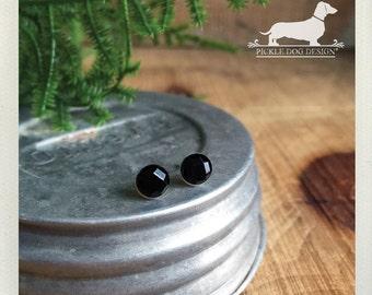 CLEARANCE! Mini Black Gem. Post Earrings -- (Simple, Classic, Round, Small Black Studs, Cute, Rhinestones, Vintage-Style, Gift Under 5)