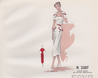 Original hand coloured illustration for French paper pattern model - 1950's Beautiful original white dress  # R2387