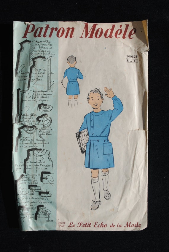 Vintage french sewing pattern 1940 39 s patron mod le boy 39 s for Patron tablier vintage