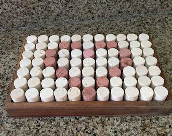 Wine Cork Tray,Wine Cork Table Display w/Medium Rustic Wood Stain Tray, Wine Corks displayed upright,Serving Tray, Wine Cork Craft