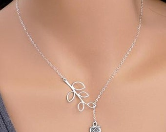 Silver Plated Metal Chain Lariat Y Drop Necklace with Owl and Leaf Olive Branch