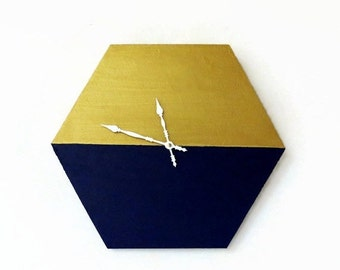 Sale, Modern Wall Clock,  Navy and Gold Clock, Trending Hexagon Decor,  Home Decor, Home and Living, Wall Clock