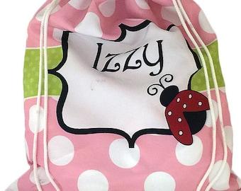 Personalized Pink Ladybug Drawstring Bag