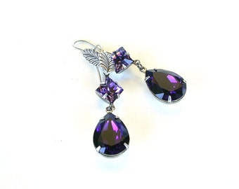 Purple Swarovski Earrings Crystal Dangling Earrings Silver Dangling Earrings Victorian Jewelry