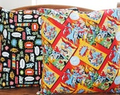 "dc comic character print novelty fabric 18""pillow cover"