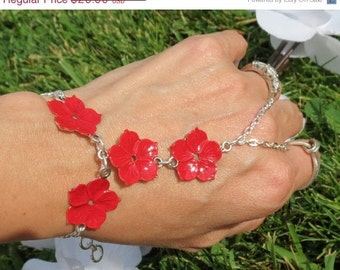 Sized Red Flower Slave Bracelet, Bracelet, Ring Bracelet, Hand Chain, Slave Bracelet Ring, True Red, Bold, Statement, Adjustable, Sized