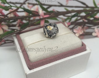 Authentic Pandora Family Tree silver and 14kt gold  charm BEAUTIFUL
