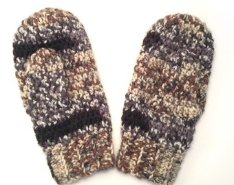 Colorful, Natural Women's Mittens - Black, Gray, Beige, Brown