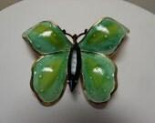 Vintage Signed Original by Robert Enamel Rhinestone Butterfly Brooch Goldtone