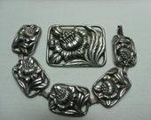 Vintage Sterling Bracelet & Brooch Repousse Pierced Floral Signed