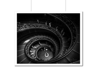 Black & White Fine Art Photograph | Vatican Staircase | Rome | Spiral Stairs | Wall Art | Home Decor | Vatican Museum | Italy Photo