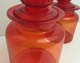 Vintage Red Glass Apothacary Jar Canister
