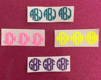 Glitter or Neon Monogram iPhone Button Decal Set of 3