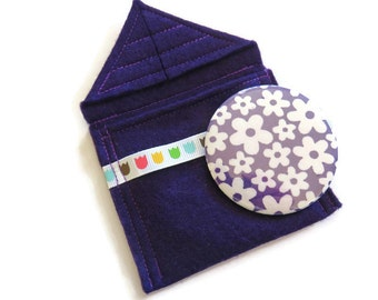 Cosmetic pocket mirror pouch in Purple felt with mirror- fabric covered handbag mirror