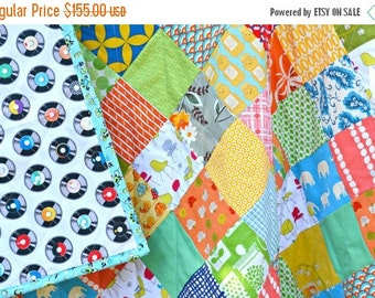 HURRY FLASH SALE Modern Quilt - Baby Crib Quilt - Toddler Quilt - Gender Neutral Quilt
