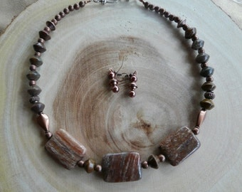 19 Inch Brown Jasper and Copper Necklace with Earrings