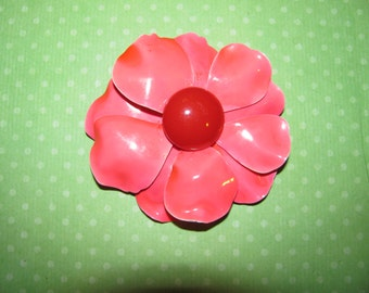 Vintage Pink With Red Center Enamel Flower Brooch Pin