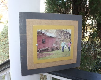 Distressed Picture Frame, Rustic 8x10 Frame, Burlap Picture Frame, Burlap Frame, Ready to Ship