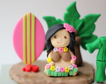 Fondant Hula girl cake topper set. Hawaiian girl. Hawaiian hula girl and Palm Tree Fondant Cake Topper Set. Hula cake topper.