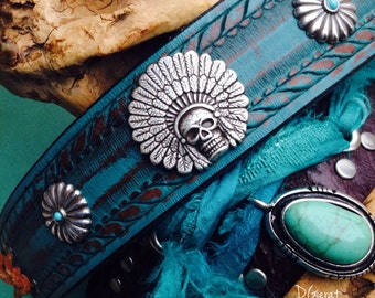 Turquoise Concho Leather Cuff Bracelets with Rope Detail