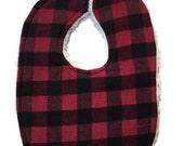 Buffalo plaid bib- baby boy bib- lumberjack baby- red and black bib- checkered bib- baby photo props- baby gift- rustic baby- 1st birthday
