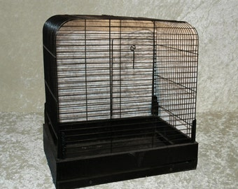 Large Bird Cage Vintage Faded Black Wire with Pull-Out Tray, Large Door with Textured Base
