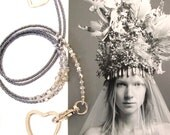 Lanyard, Charcoal grey metallic and silver, Beaded ID holder, Badge clip holder, Key chain, Fashion lanyard, Handmade lanyard