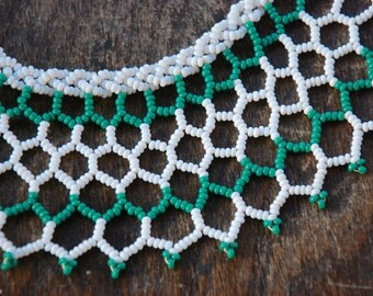 Vintage Beaded Collar Necklace Bib Necklace Choker Green White Glass Seed Beads Open Lacework Statement 1950's // Vintage Costume Jewelry