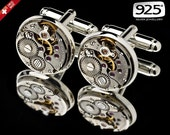 Watch Movement Cufflinks / Steampunk Cufflinks / Watch Cufflinks/ Sterling Silver Cufflinks 14K Gold Cufflinks/ Groomsmen Gifts/ 925 Jewelry