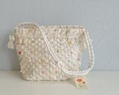 Vintage 1950s Beaded Bag / 50s Hand Crochet Raffia Bead Handbag / Made in Japan New Old Stock