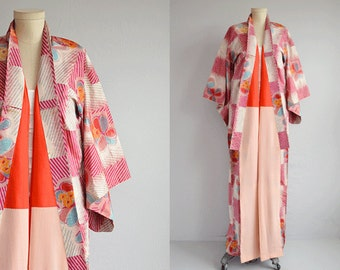Vintage Silk Kimono / Hand stitched Ikat Floral Print Geisha Kimono Robe /  Made in Japan