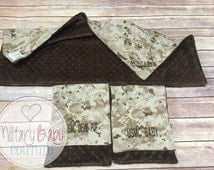 Baby Starter Pack #1 Baby blanket with a set of Burp Cloths, Marine Corps, Navy, Army, Air Force