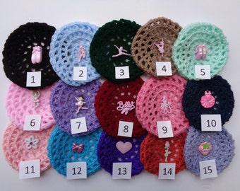 Medium Bun Cover with Adornment, 24 Colors and 15 Adornments, Crochet Bun Cover, Bun Wrap, Bun Holder, Snood, Ballet, Dance