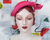 Vintage 1950's Hat . Hot Pink Pleated Silk Cocktail . Chic New Look . Asymmetric Tilt . Cuffed Brim . Brocade Lining . Saks Fifth  Avenue
