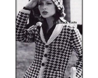 No.536 1970's Crochet Pattern Vintage PDF - Women's Tailored Shawl Collar Cardigan Sweater & Hat - Houndstooth Jacket - Retro Crochet