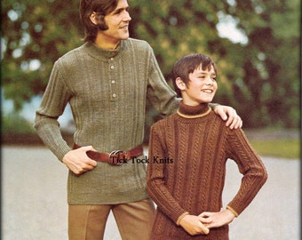 "No.494 PDF Vintage Knitting Pattern Men's & Boy's Sweaters - Ribbed Henley / Cabled Turtleneck - 1970's Chest Sizes 28"" - 42"" Father And Son"