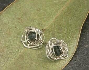 Emerald Nest Stud Earrings in Sterling Silver