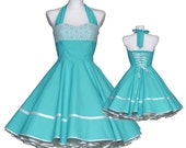 Wedding dress 50's Vintage style turquoise creme lace tailor custom made Retro