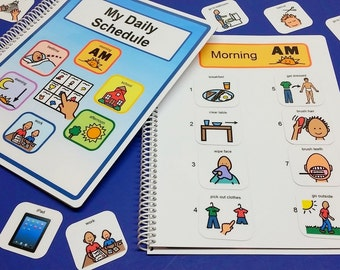 My Daily Schedule - Fully Loaded - Autism Daily Picture Schedule Book - Now in Blue and Added Storage Pages - 80 Picture PECS for easy use